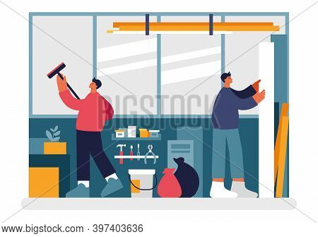 People Cleaning Warehouse Illustration. Male Characters Wiping Dirt And Dust Off Windows And Stockpi