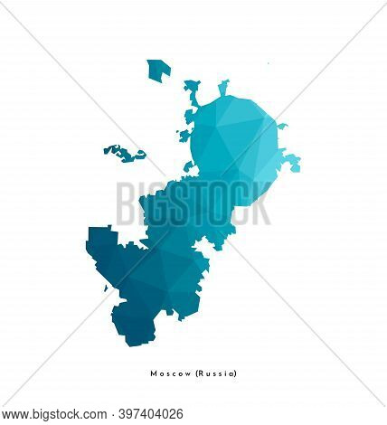 Vector Isolated Low Poly Illustration With Simplified Shape Of Moscow Map (russian Capital) Accordin