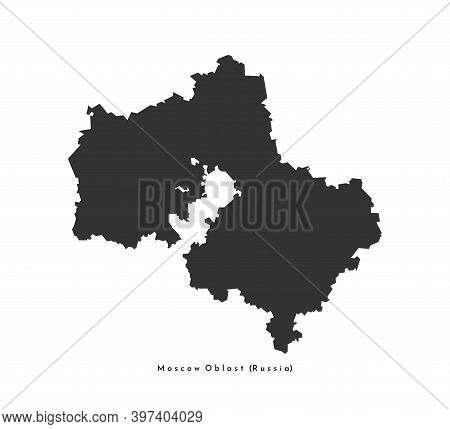 Vector Isolated Simplified Illustration Icon With Dark Grey Silhouette Of Moscow Oblast Map (federal