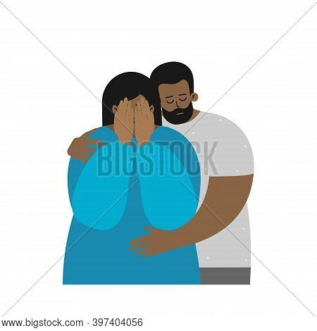 Vector Flat Illustration About Mental Health In Family, Importance To Support Partner In Depression