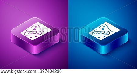 Isometric False Jaw In Glass Icon Isolated On Blue And Purple Background. Dental Jaw Or Dentures, Fa