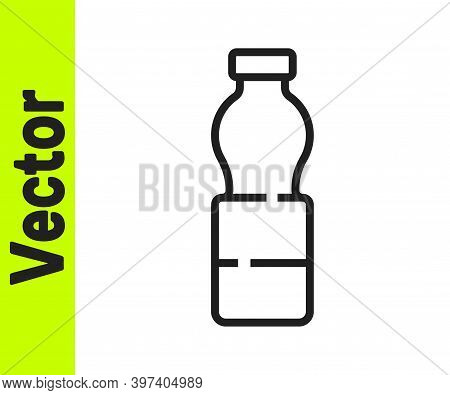 Black Line Bottle Of Water Icon Isolated On White Background. Soda Aqua Drink Sign. Vector Illustrat