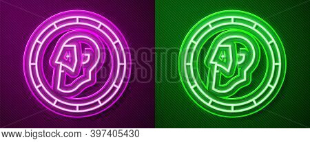 Glowing Neon Line Ancient Coin Icon Isolated On Purple And Green Background. Vector