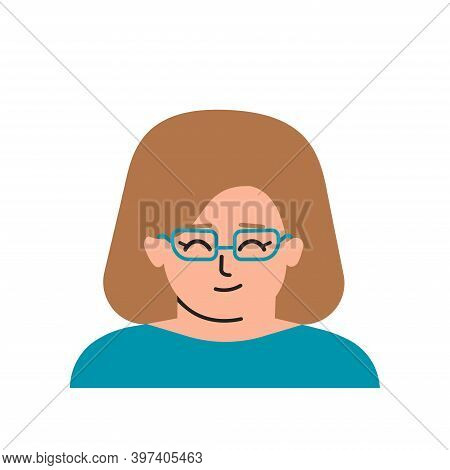 Vector Flat Isolated Illustration With Portrait Of Cartoon Character. Avatar Of Clever Caucasian Lit