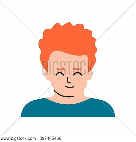 Vector Flat Isolated Concept With Portrait Of Cartoon Character. Face Of Ginger Child. Avatar Of Red