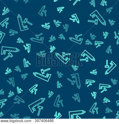 Green Line High Striker Attraction With Big Hammer Icon Isolated Seamless Pattern On Blue Background