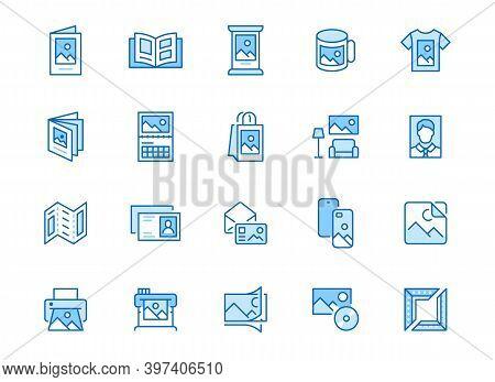 Photo Printing Line Icon Set. Brand Identity Printed On Products Like Brochure, Banner, Mug, Plotter