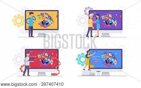 Cyber Sport Pro Gamer Man Live Streaming Game Match Sitting At Professional Studio With Pc Desk Setu