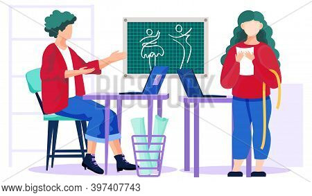 Designer Picks Up A Dress For A Girl According To Her Order Sitting At A Laptop. Woman Is Standing N