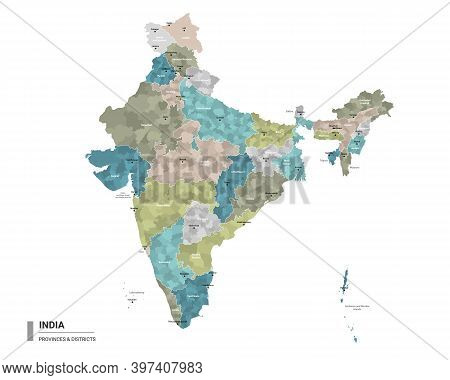 India Higt Detailed Map With Subdivisions. Administrative Map Of India With Districts And Cities Nam