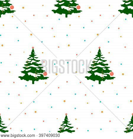 Vector Flat Background. Christmas Pattern. Memphis Style. Confetti And Serpentine. Christmas Tree. S