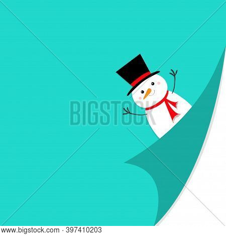 Cute Snowman Face Holding Hands Up. Red Scarf, Black Hat. Merry Christmas. Fold Page Corners. Curled