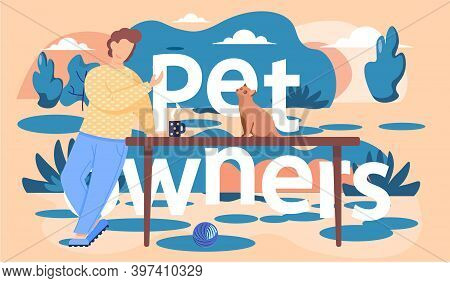 The Guy Stands And Leans On The Table. Owner Of The Cat Resting On The Street. Man Is Looking At The