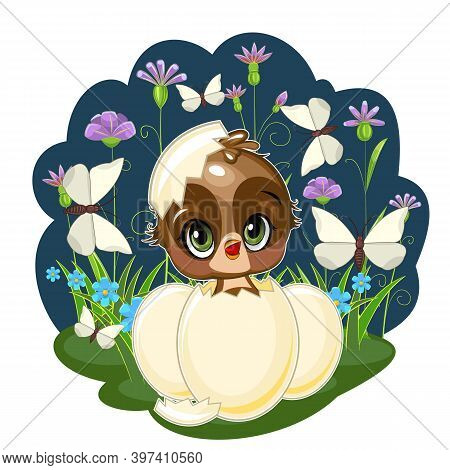 A Little Sparrow Hatched From An Egg. Funny Chick. Cute And Funny Baby Bird. The Isolated Object On