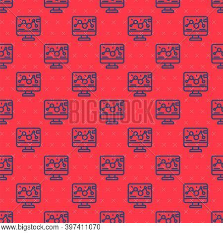 Blue Line Genetic Engineering Modification On Laptop Icon Isolated Seamless Pattern On Red Backgroun
