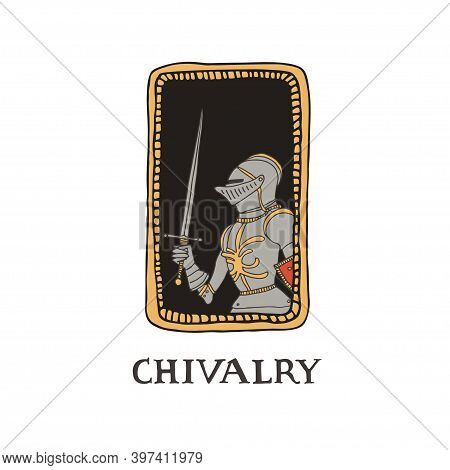Medieval Knight With A Sword And In Decorative Frame. Male Warrior With Armour Taking Part In A Jous