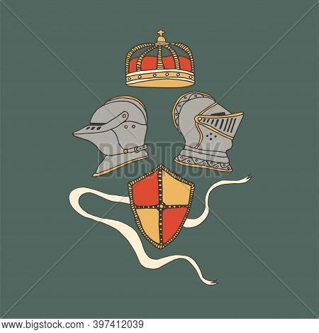 Medieval Knight Helmets, Shield And Crown. Coat Of Arms Heraldic Equipment. Crusaders Templar Armour