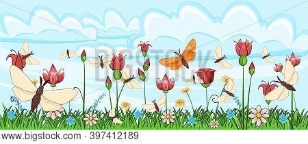 Blooming Meadow With Grass And Flowers. Landscape With The Sky. Cartoon Style. Fabulous Illustration