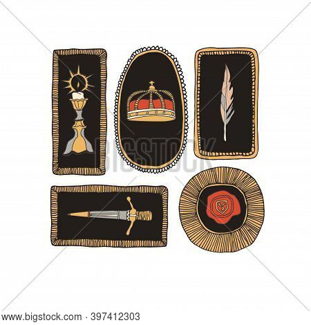 Medieval Crown In Decorative Frame. Candle, Feather, Wax Seal And Knight Sword. Royal Atributes Vect