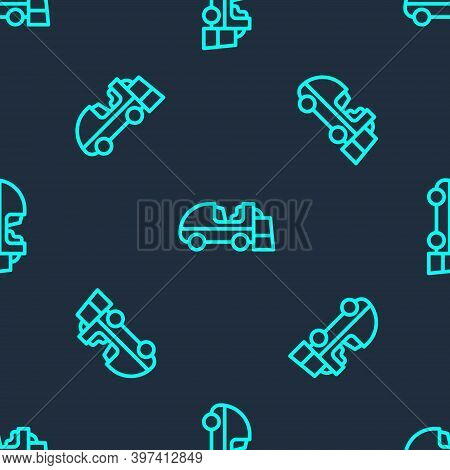 Green Line Ice Resurfacer Icon Isolated Seamless Pattern On Blue Background. Ice Resurfacing Machine