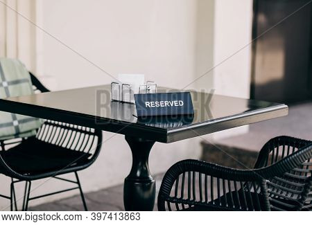 Reserved Table Sign In Restaurant Outdoors. Classic Cafe