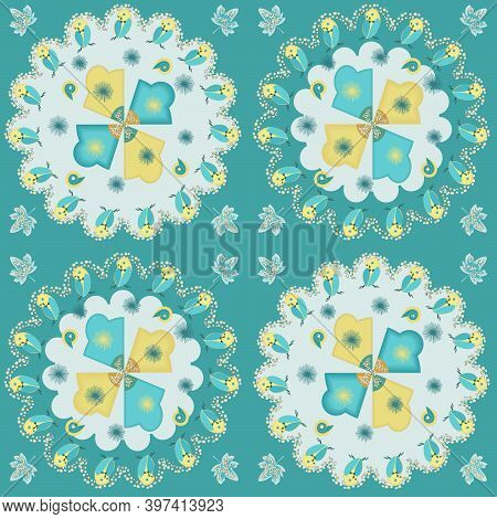 Radial Mesh Pattern With Forest Motifs And An Owl In Blue And Yellow Tones.  Vector Illustration