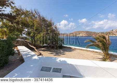 View Of The Aegean Sea From Agia Irini, Saint Irene, Greek Orthodox Church, Mountain In The Backgrou