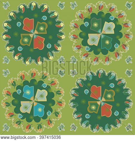 Radial Mesh Pattern With Forest Motifs And An Owl In Red And Green Tones.  Vector Illustration