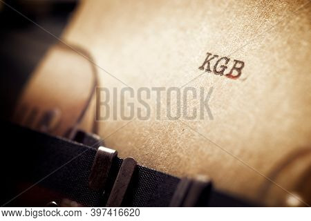 KGB word written with a typewriter.