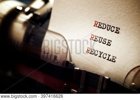 Reduce, Reuse and Recycle words written with a typewriter.