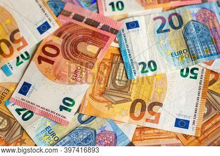 Euro Money Of European Union, Euro Banknotes Background, Face Value 10, 20, 50 Euros