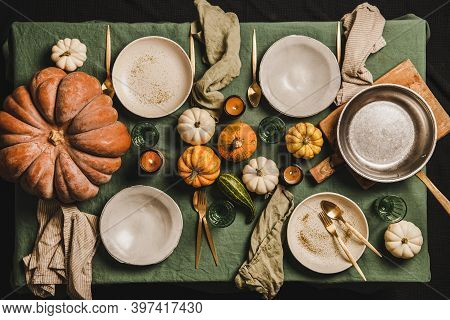 Autumn Table Setting For Family Dinner, Friends Gathering Or Thanksgiving Day Celebration. Flat-lay