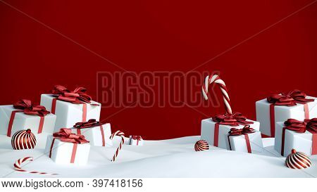Happy New Year Or Christmas Red Background With Gift Boxes And Snow. Present Boxes With Red Ribbon B
