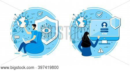 Cyber Security Vector Icons Set. Approved Login Page, Online Access, Employee With Laptop. Vpn Data