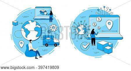 Logistics Operations, Supply Delivery Service Vector Icons Set. Online Export Control, Business Tran