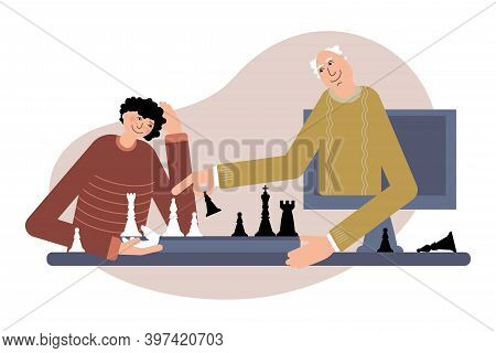 Grandfather Play Chess Online With His Grandson. Online Chess Tutorial.