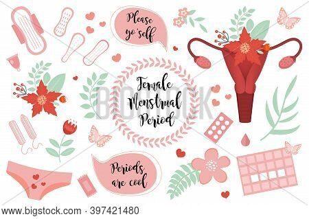 Female Menstruation Period Set. Collection Of Stickers Icons Of The Female Reproductive System, Pads