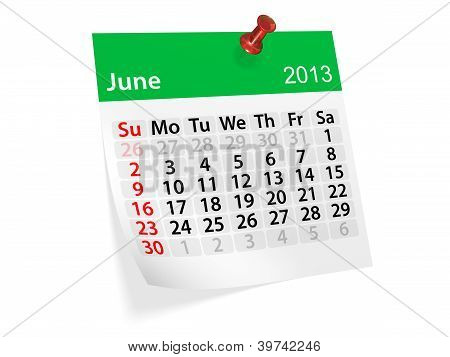 Monthly Calendar For New Year 2013. June