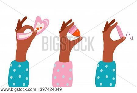Hands Holding Pad,menstrual Cup With Blood And Tampon.choice Concept.periods Theme With Popular Hygi