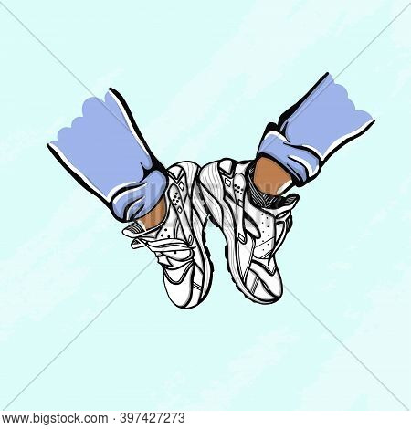 A Pair Of Sneakers. Modern Fashionable Sneakers With Legs. For Ui, T-shirt, Postcard, Poster, Etc. H