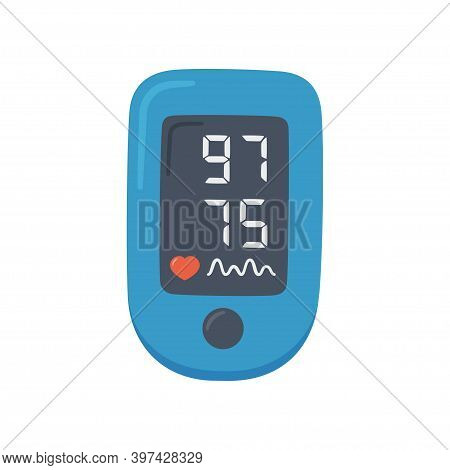 Pulse Oximeter With Normal Value. Digital Device To Measure Oxygen Saturation. Isolated Vector Illus