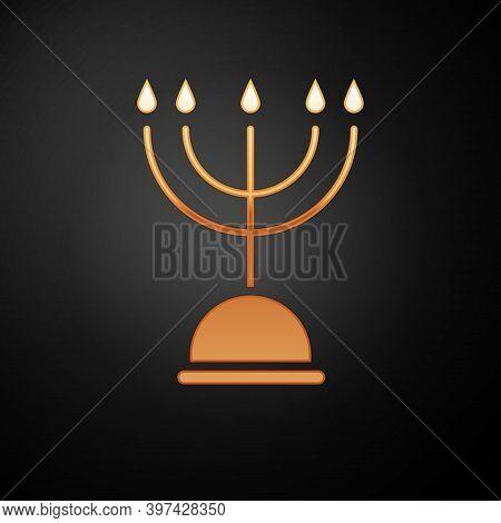 Gold Hanukkah Menorah Icon Isolated On Black Background. Hanukkah Traditional Symbol. Holiday Religi