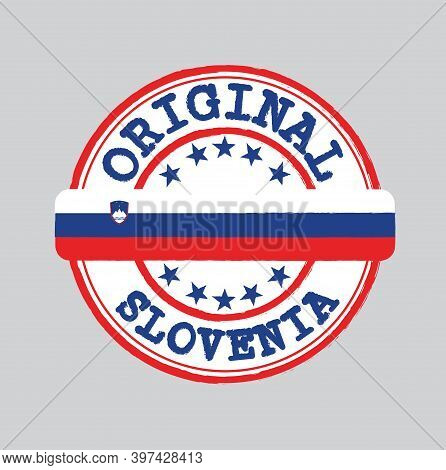 Vector Stamp Of Original Logo With Text Slovenia And Tying In The Middle With Nation Flag. Grunge Ru