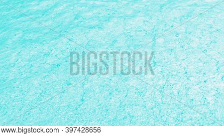 Aqua Turquoise Aquamarine And White Color, Water Glare Pattern. Patchy Abstract Background, Panorama
