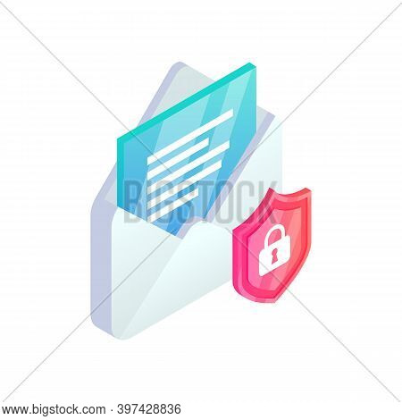 Secure Email Service Isometric Icon. Safe Mobile Mail, 3d E-mail Sign With Shield. Private Data In S