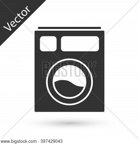 Grey Washer Icon Isolated On White Background. Washing Machine Icon. Clothes Washer - Laundry Machin