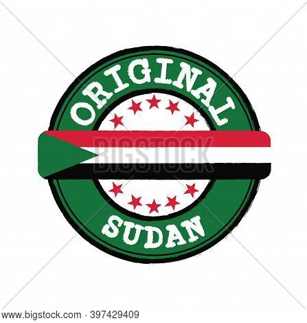 Vector Stamp Of Original Logo With Text Sudan And Tying In The Middle With Nation Flag. Grunge Rubbe