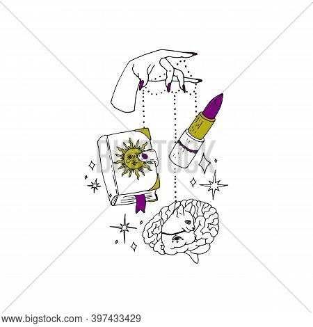Boho Spiritual Hand Drawn Black Ink Line Art. Woman Hand With Purple Nails Is Holding Grimoire Book,
