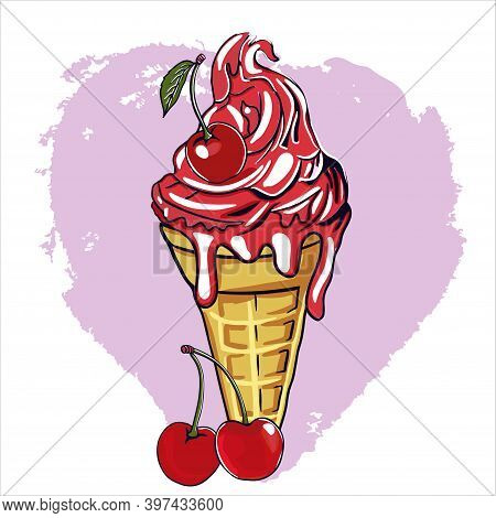 Bright Red Ice Cream With Waffle Cone And Cherry Flavor. Cherries Decorate The Dessert. Cartoon Illu