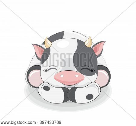 Cute Sleeping Calf, Picture In Hand Drawing Cartoon Style, For T-shirt Wear Fashion Print Design, Gr